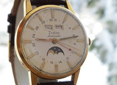 Very Beautiful Rare ZODIAC  MOON PHASE Watch very attractiveGold Color For Mens