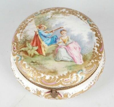 19Th/20Th C. Meissen Style Round Porcelain Box