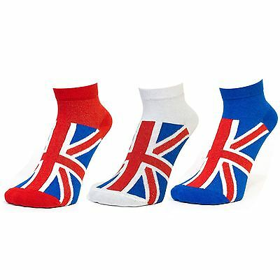 Ladies Union Jack Sneaker Trainer Liner Sports Training Ankle Socks New Lot