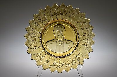 SCARCE c. 1885 GRANT AKA PEACE MOTTO Gillinder & Sons AMBER Commemorative Plate