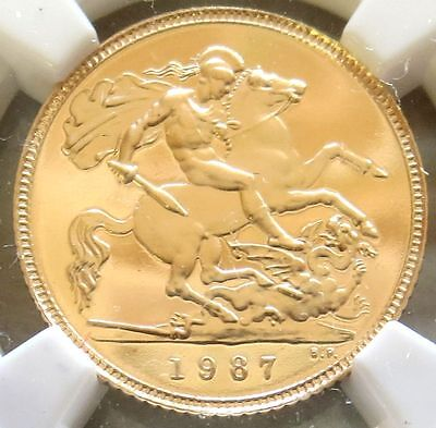 1987 Gold Great Britain 1/2 Sovereign Ngc Perfect Proof 70 Ultra Cameo