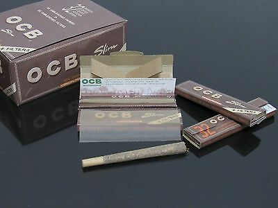 5 Booklets OCB 108*45mm SLIM Organic Rolling PAPER+Filter Tips/Diy LONG CONE #12