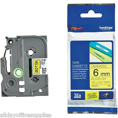 NEW Genuine Brother TZe TZ 611 P Touch TZ Tape Cassette - 6mm Black On Yellow