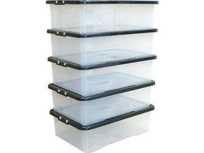 5 x 32L 32 Litre Underbed Under Bed Plastic Clear Storage Box Container Lid SALE