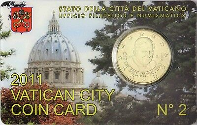 Vatikan 50 Cent 2011 Stgl. Papst Benedikt XVI. in Coin Card Nr. 2 Petersdom