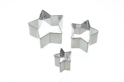 Fondant Cutter-Star Shape Set of 3- Pastry Marzipan Sugarpaste- Kitchen Craft