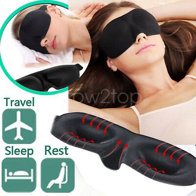 Black Soft Padded Blindfold Eye Mask Travel Rest Sleeping Aid Shade Cover Unisex
