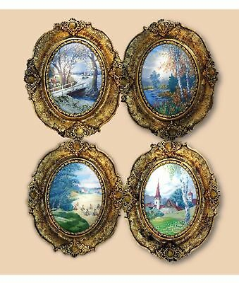 Authentic Wiehler Gobelin Needlepoint Vintage Picture Original Four Seasons Lot
