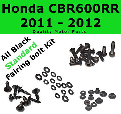Black Fairing Bolt Kit body screws fasteners for Honda CBR 600 RR 2011 - 2012