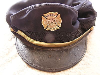 Antique Macon Fire Department Hat with Badge
