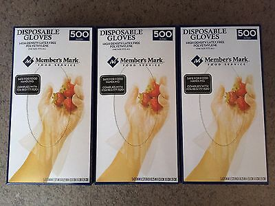 Member's Mark Plastic Disposable Food Handling Gloves One Size - 1500 Count