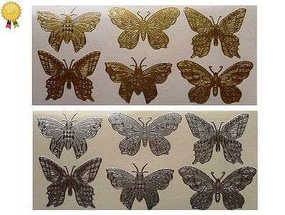LARGE BUTTERFLIES Peel Off Stickers Butterfly Garden Card Making Gold or Silver