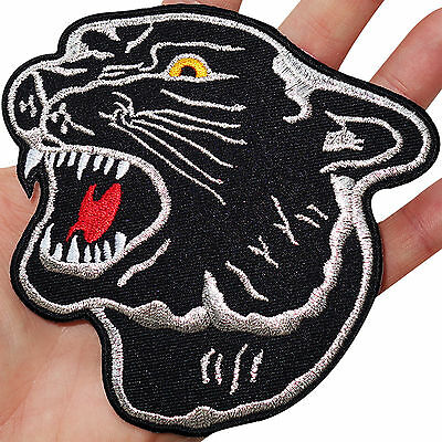 Big Black Panther Head Embroidered Iron / Sew On Patch Shirt Jacket Large Badge