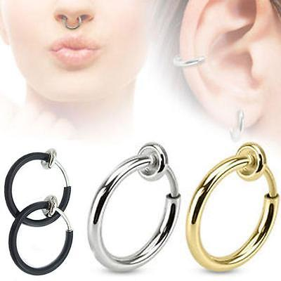 2pcs Fake Spring Action Non Piercing Nose Septum Ear Cartilage Lips Ring Unisex