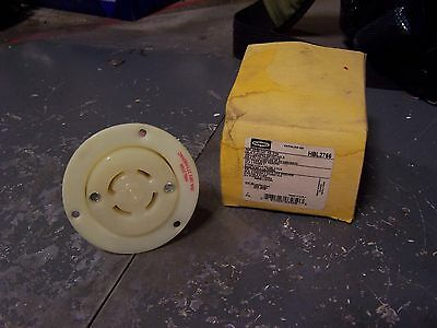 New Hubbell 30 Amp Ac Flanged Receptacle 277/480 Vac 4 Pl 4 Wire Hbl2766