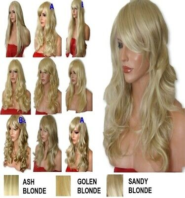 BLONDE Mix Wig Natural Long Curly Straight Wavy Party Fashion Lady Ladies WIG