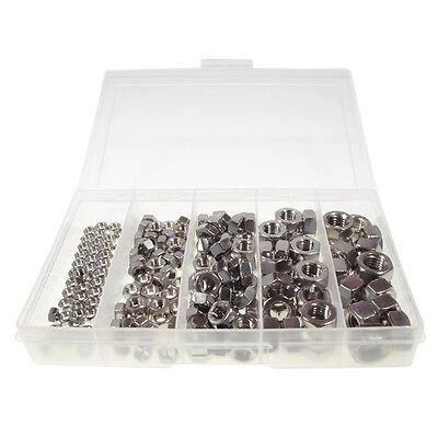 Qty 190 Hex Nut Kit M5 M6 M8 M10 M12 Stainless Steel 304 Grade SS #171