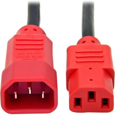 Tripp Lite 4ft Computer Power Cord Extension Cable C14 to C13 Red 10A 18AWG 4'