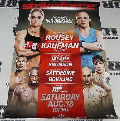 Ronda Rousey Sarah Kaufman Miesha Tate + Card Signed StrikeForce Poster UFC /100