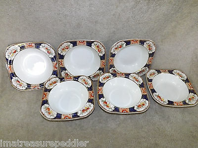 Enoch Wood & Sons Napoli (Imari) pattern 6 Rimmed Cereal Bowls 6 1/4""