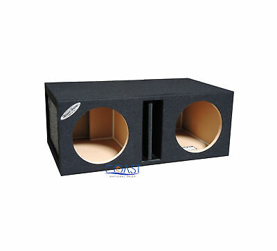 "Ground Shaker NP212 12"" Dual w/Center Ported Subwoofer Enclosure Box - Black"