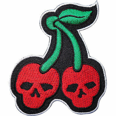 Cherry Embroidered Iron / Sew On Patch Red Skull Cherries Rockabilly Dress Badge