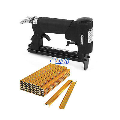 "Heavy-Duty 22 Gauge Automatic Upholstery Pneumatic Stapler + 10000 1/8"" Staples"