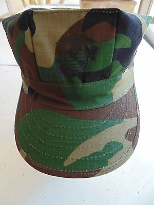 Usmc Us Marine Corps Ripstop Woodland Bdu Camo Uniform Cap 8 Point Cover Size Sm