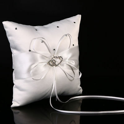 White Double Heart Wedding Pocket Ring Pillow Cushion Bearer Crystal Rhinestone