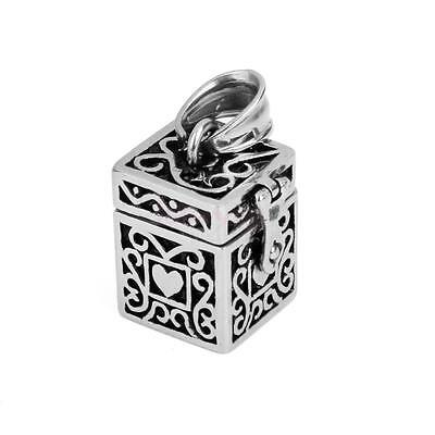 Heart on Box Case Cremation Jewelry Keepsake Pendant Memorial Urn Ash Holder