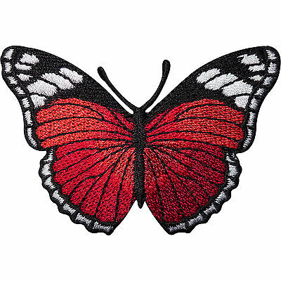 Red Butterfly Embroidered Iron / Sew On Patch Applique T Shirt Top Jeans Badge