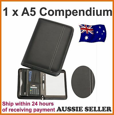 1 x A5 Black Zippered Compendium Leather style Fast del leather look Brand new