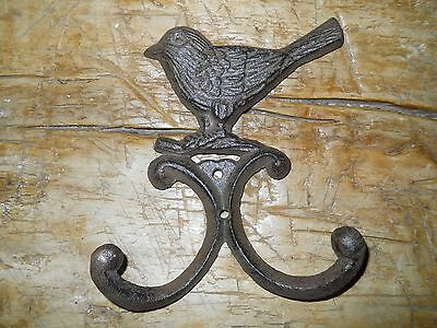 6 Cast Iron BLUE BIRD Towel Hooks Hat Rack Coat Hook Rustic Ranch BROWN