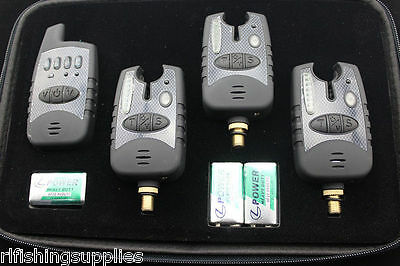 Carp Fishing Black Wireless Bite Alarm Set 3 Alarms + Receiver Running Leds Case