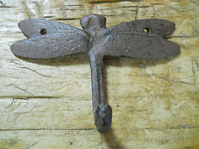 12 Cast Iron DRAGONFLY Towel Hanger Coat  Hat Hooks, Key Rack GARDEN Hook BUG