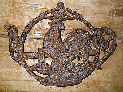 Cast Iron ROOSTER Tea Pot  Plaque Sign Home Kitchen Decor CHICKEN TRIVET HEN