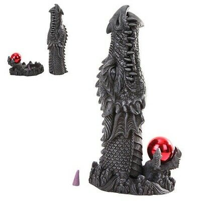 Medieval Dragon Head Emerging From Ground Cone Incense Burner Sculpture Decor