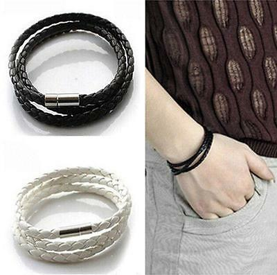 Cool Mens Boys Handmade Leather Braided Rope Bracelet Wristband Bangle Cuff Gift