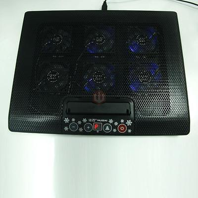 """6 Fans LED 2 USB Cooling Cooler Pad for 12""""-17"""" Laptop PC Adajustable Stand"""
