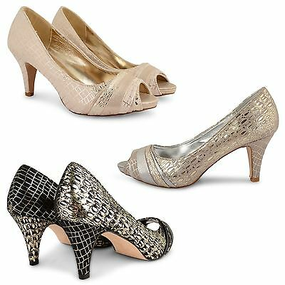 Womens Ladies Wedding Bridal Mid Low Heels Party Peep Toe Prom Court Shoes Size