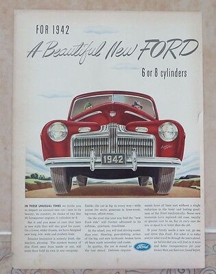 1941 Original Print Ad  BEAUTIFUL NEW FORD for 1942 Super DeLuxe Vintage Art