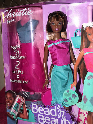 Aa Barbie Christie Bead 'n  Beauty Set Doll 2 Outfits And Designs Mint Rare