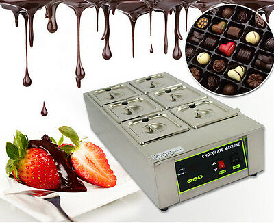 110V 1000W Six Pan Dry Well Bain Marie Chocolate Tempering Melter Warmer