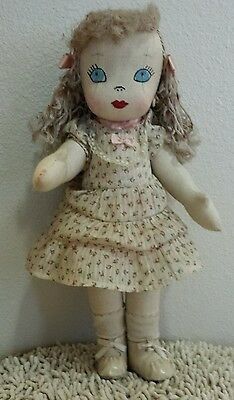 Vintage Antique Rag Doll Embroidered Face 16""