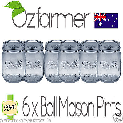 6 x Ball Mason Regular Mouth 470ml Pint Jars Lids Canning Preserving Weddings