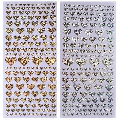 SHIMMER HEARTS Peel Off Stickers Love Heart Valentine Card Making Silver Red