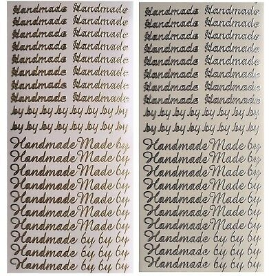 HANDMADE BY Peel Off Stickers Card Making Scrapbooking Crafts Gold or Silver