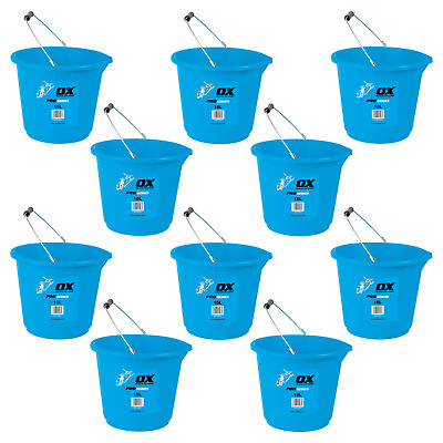 Ox Pro Builders Strong Plastic Work Bucket 15 Litre Heavy Duty Strong 10 Pack