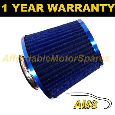 BLUE UNIVERSAL SPORTS HIGH POWER UPGRADE AIR FILTER WITH ADAPTORS 60mm 65mm 70mm