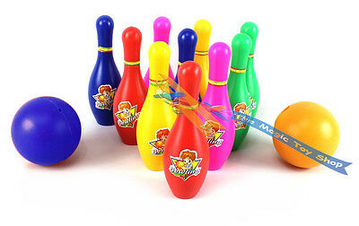 Large 10 Skittles 2 Balls Bowling Set Outdoor Garden Lawn Party Game Toy Kids